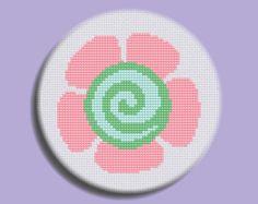 Cute Cross Stitch Pattern: Swirly Flower Hanamaru INSTANT DOWNLOAD on Etsy, $3.00