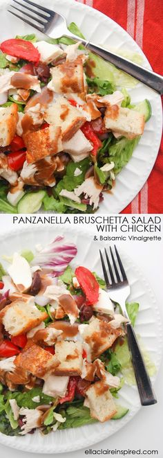 Panzanella Bruschetta Salad with Chicken and a Balsamic Vinaigrette