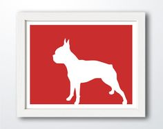 Boston Terrier Print  Boston Terrier Silhouette  by ShapeofLove