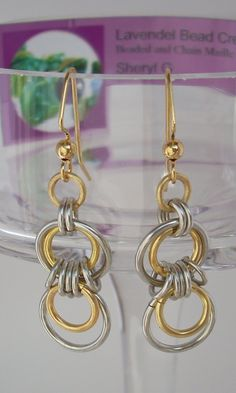 Silver and Gold Double Loop Earrings by LavendelBeadCreation, $10.00