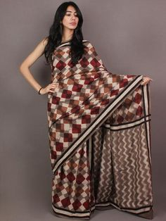 Brown White Maroon Pink Bagru Dabu Hand Block Printed in Cotton Mul Saree - S03170866
