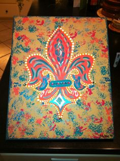 Fancy Coral Fleur De Lis -Peace Of Art by MelKay (I take orders!)