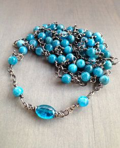 Blue Yoga Bracelet Long Beaded Necklace by AmyFriendJewelry Necklace Lengths, Beaded Necklace, Throat Chakra, Yoga Bracelet, Yoga Fashion, Yoga Jewelry, Deep Blue, Turquoise Bracelet, Gemstones