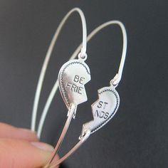 Best Friend Bracelet Set Friendship Gift Long Distance Birthday Goodbye Moving Away Heart Broken In Half