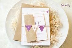 Rustic Wedding Invitation, Kraft Wedding Invitation, Bunting Wedding invitation, Organic Wedding Invitation, Barn Farm Wedding, Natural by Shnabby on Etsy