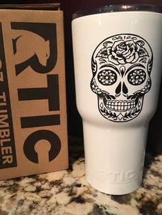 Personalized Sugar Skull Yeti Vinyl Decal Sugar Skulls Sugaring - Sugar skull yeti cup