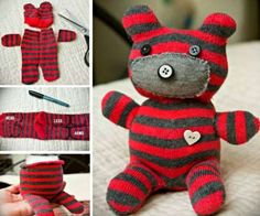 15 DIY-Stofftiere mit Recycling - Diy And Crafts Diy Sock Toys, Sock Crafts, How To Make Socks, Sock Dolls, Sock Animals, Cute Teddy Bears, Crochet Bear, Diy Doll, Baby Sewing