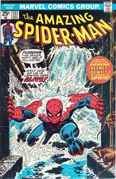 Original and final cover art by Gil Kane (breakdown) and John Romita Sr. (finished art) from The Amazing Spider-Man #151, published by Marvel Comics, December 1975. This cover was an homage to Steve Ditko's classic cover from The Amazing Spider-Man #33.