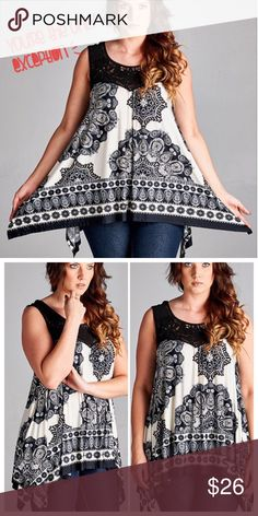 PRETTY ETHNIC PRINT SLEEVELESS TOP Black and Ivory Mediterranean print with border. Crochet lace neckline and asymmetrical hem. Very flattering! Polyester. tla2 Tops