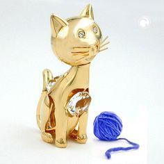 Katze Artikel mit Kristall-Glas, gold-plattiert