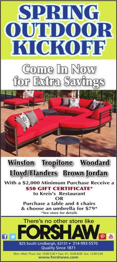 Just in time for Spring! Our sale will have you ready for all those entertaining days & nights this Spring & Summer! Come in & see the deals we have waiting for you! Brown Jordan, Outdoor Dining Furniture, St Louis, A Table, Entertaining, Spring, Outdoor Furniture Pallets