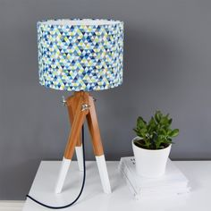 Geometric Triangles Lampshade (Blue) - Red Candy