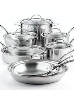 Calphalon Tri-Ply Stainless Steel 13 Piece Cookware Set - Cookware - Kitchen - Macy's 400 There are some really good cookware sets availble from cooking magic. Stainless Steel Pot, Stainless Steel Appliances, Cast Iron Cookware, Cookware Set, Calphalon Cookware, Pots And Pans Sets, Induction Cookware, Kitchen Must Haves, Kitchen Gadgets