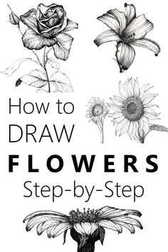 Learn to draw flowers with a pen and pencil and create your own beautiful floral art Many flower drawing examples and an easy guide flowerdrawing drawing floralart flowerart - Flower Drawing Tutorial Step By Step, Flower Drawing Tutorials, Art Tutorials, Drawing Flowers, Painting Flowers, Art Flowers, Flower Tutorial, Floral Flowers, Oil Painting Tutorials