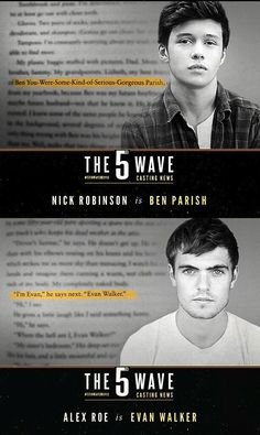 The 5th Wave Movie Casts Ben and Evan...im ashamed by their choice for Evan