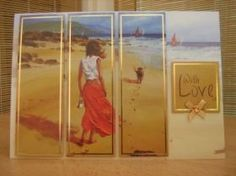 """This stunning card measures A5 in size and comes with a white envelope and protected in a cello bag. The toppers features a lady walking her dog on the beach and has been split into three. Each of the three toppers have gold foiling around the edge and have been raised to give dimension. The sentiment reads """"With Love"""". A bow and a gem has been added to decorate. http://www.makesellbuy.com/products/view/136299322423/handmade-birthday-card-ladies-with-love-beach-walk"""