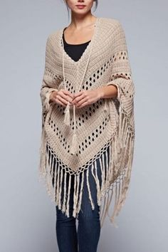 This bohemian inspired crochet poncho has a long tassel tie in front and long fringed hemline. Ultra soft cotton/acrylic blend yarn in a soft, neutral tone to compliment your spring and summer outfits Más Crochet Scarves, Crochet Shawl, Crochet Yarn, Crochet Clothes, Crochet Woman, Love Crochet, Irish Crochet, Crochet Capas, Knitting Patterns