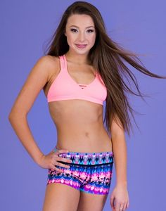 California Kisses 'Cute 'n' Coral' Cami matched with our 'Tidal Wave' tie-dye shorts available in both girls and juniors sizes