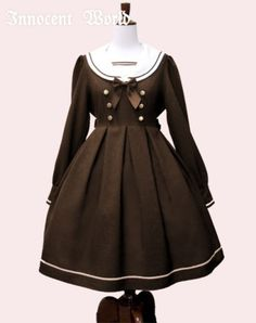 Embroidered Collar Sailor Onepiece Chocolat by Innocent World
