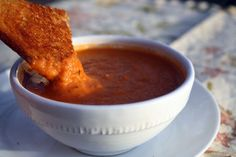 Cream of Tomato Soup and Grilled Cheese for Sunday Supper. - full details→ http://vivianshealthyrecipes.blogspot.fr/2013/09/cream-of-tomato-soup-and-grilled-cheese.html