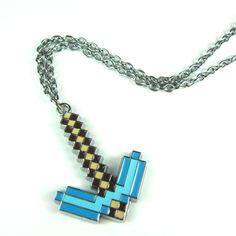 MINECRAFT MINE CRAFT MINECON Cosplay Inspired GEEK Binary PICKAXE Hoe Necklace Keychain $6.98