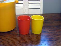 Tupperware cups, vintage Tupperware, Vintage kichen, Retro cups, Farmhouse Kitchen at Designs by Willowcreek on Etsy by DesignsByWillowcreek on Etsy Tupperware Cups, Vintage Tupperware, Kitchen Retro, Vintage Kitchen, Farmhouse, Etsy Shop, Tableware, Glass, Design