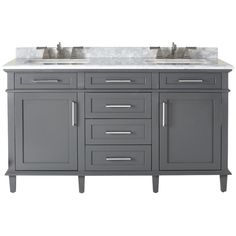 Home Decorators Collection Sonoma 60 in. W x 22 in. D Double Bath Vanity in Dark Charcoal with Natural Marble Vanity Top in Grey/White