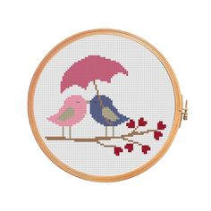 Birds in love under the umbrella cross stitch pattern for wedding. Gift on Valentines Day, a wedding, a romantic meeting. Floss: DMC Canvas: Aida 14 Grid Size: x Design Area: x x 58 stitches) Number of colors: 7 Use 2 strands of thread for cross stitch. Cross Stitch Heart, Cross Stitch Borders, Counted Cross Stitch Patterns, Cross Stitch Designs, Cross Stitching, Cross Stitch Embroidery, Embroidery Patterns, Wedding Cross Stitch Patterns, Fuse Bead Patterns