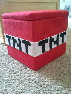 Minecraft TNT block from Wal-Mart storage cube. - Everything About Minecraft Minecraft Toys, Minecraft Crafts, Minecraft Stuff, Minecraft Storage, Minecraft Skins, Minecraft Buildings, Creeper Minecraft, Minecraft Cake, Minecraft Bedroom Decor