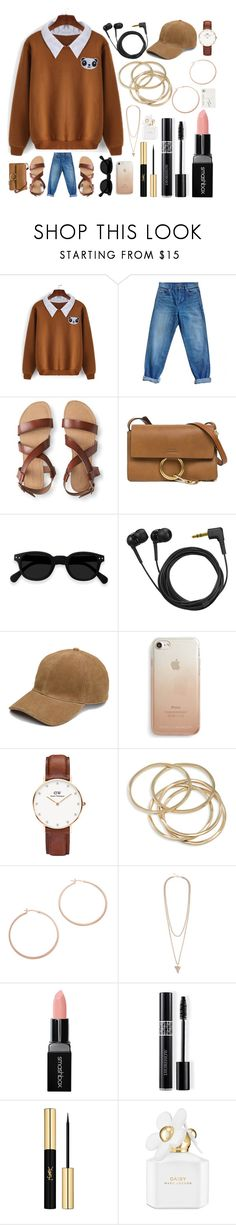 """""""Just another day"""" by basmahahmed ❤ liked on Polyvore featuring Yves Saint Laurent, Aéropostale, Chloé, Sennheiser, Rebecca Minkoff, Daniel Wellington, ABS by Allen Schwartz, Jennifer Zeuner, Givenchy and Smashbox"""