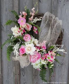 Elegant Country French Garden Wreath ~A New England Wreath Company Designer Original~