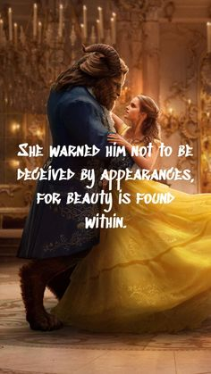 She warned him not to be deceived by appearances, for beauty is found within. Cute Disney Quotes, Disney Princess Quotes, Disney Princess Pictures, Cute Love Quotes, Girly Quotes, Disney Love, Life Quotes, Boss Quotes, Beauty And Beast Quotes