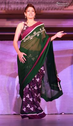 A contestant showcasing a green saree with beautiful cutwork on the pleats...The saree is designed in such a way that it can be worn like a ghagra as well...Design & creation by Shivaani