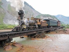 Durango & Silverton Narrow Gauge Railroad Train just outside Silverton, CO.