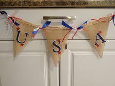 USA burlap banner by ChristysCardShop
