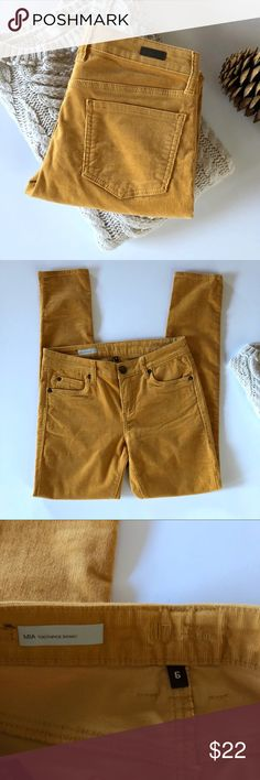 """Kut from the Kloth Mia Toothpick Skinny cords Mustard yellow skinny cords by Kut from the Kloth in size 6. Mid rise with stretch.  15"""" across waist, 9"""" rise, 31"""" inseam. Gently worn in good condition! Kut from the Kloth Pants Skinny"""