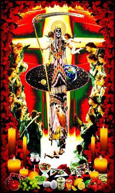 """Santa Muerte Altar"". Digital art with Santa Muerte."