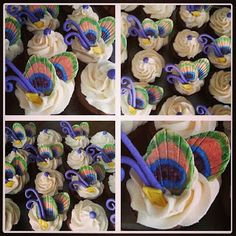 Maybe with a rolled and pressed gumdrop Peacock Cupcakes, Peacock Cake, Peacock Foods, Drink Recipes, Cake Recipes, Cakes Plus, Cupcake Images, Cupcake Bakery, Sugar Cake
