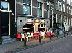 """This is an awesome little restaurant that my husband and I went to several times when we were in Amsterdam (back when he was still 'the boyfriend'). It's right on the Prinsengracht in the 'basement' of one of the old houses. It's name is De Fles, which means """"The Bottle""""."""