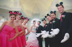 During the reception the groom and his men will have Mickey ears, and the bridal party will have Minnie ears w/ veils attached.