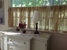 Custom Fringed or Ruffled Burlap Curtain Farmhouse Kitchen Valance Window Treatment Fringed Burlap Panel French Country Made to Order