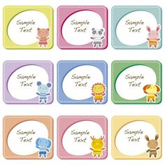 Square frames with animals Free Vector