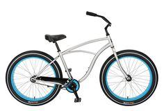 Baja Cruz - beach cruiser single-speed bicycle in blue/silver
