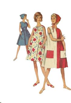 Simplicity 5300 1960s Misses Pullover Beach Tent Dress and Triangular Scarf womens vintage sewing pattern by mbchills