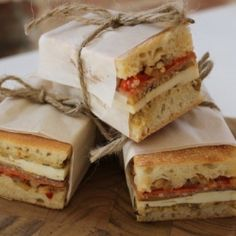 Delicious Italian pressed sandwiches - packed with flavour and ready to travel when you are! I did a search for pressed sandwiches to find recipe Mini Sandwiches, Wedding Sandwiches, Italian Sandwiches, Pressed Sandwich, Cassoulet, Italian Deli, Tasty, Yummy Food, Sandwich Recipes
