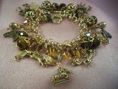 FOXHOUND -jl5- Fox Hunting - Set of Three Pieces-  Charm Bracelet- FREE Shipping - Amethyst- Handmade by Artisan - Last One by HOBBYHORSELADY on Etsy