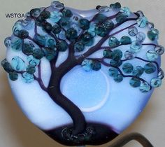 WSTGA~MOONEY BLUES~TREE FLORAL FLOWER handmade lampwork focal glass bead SRA