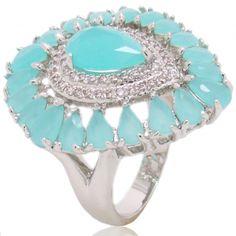 anel semi-joia pedras azuis