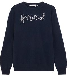 Lingua Franca - Feminist Embroidered Cashmere Sweater does the talking for you with the perfect everyday knit that makes a subtle statement. #NETAPORTER