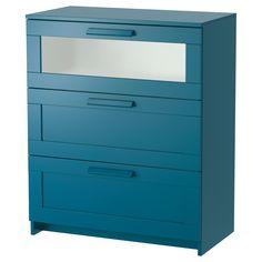 IKEA - BRIMNES, Ladekast 3 lades, donker groenblauw/frosted glas, 78x96 cm, , De woning moet een veilige plek zijn voor het hele gezin. Daarom wordt er wandbeslag meegeleverd waarmee je de ladekast aan de muur kan bevestigen.De lades zijn makkelijk te openen en te sluiten. Met blokkeerstuk.
